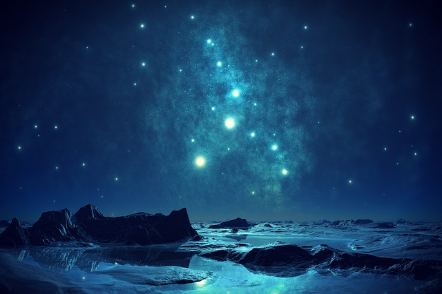 Orion and Pleiades, artist rendition, blue on blue